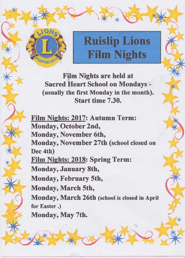 Ruislip Lions hold monthly film nights in the winter @ Sacred Heart School | England | United Kingdom